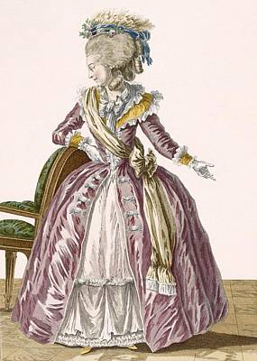 Leaning Drawing - Ladies Burgundy Gown With White by Pierre Thomas Le Clerc