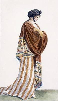 Fashion Drawing - Ladies Dress With Velvet Shawl by Pierre de La Mesangere