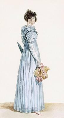 Blue Dresses Drawing - Ladies Gown by Claude Louis Desrais