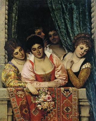 Ladies On A Balcony Print by Eugene de Blaas