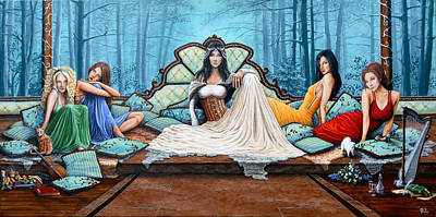 Fruit Tree Art Painting - Ladies Waiting by Molly Prince