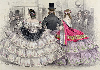 Ladies Wearing Crinolines At The Royal Italian Opera Print by TH Guerin