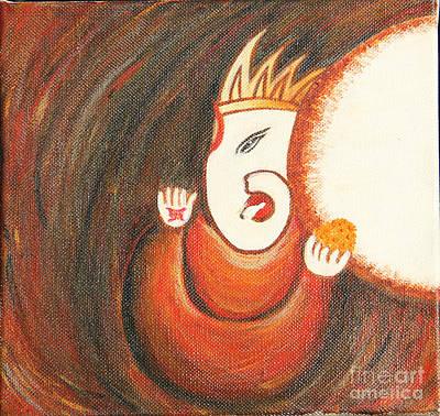 Vinayaka Painting - Ladoo Ganesha by Archana  Sinha