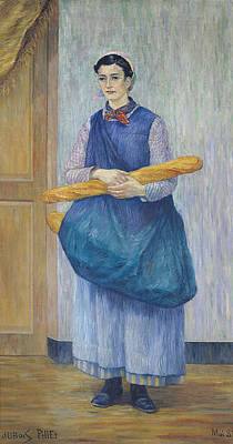 Baguettes Photograph - Lady Carrying Bread, 1889 Oil On Canvas by Albert Dubois-Pillet