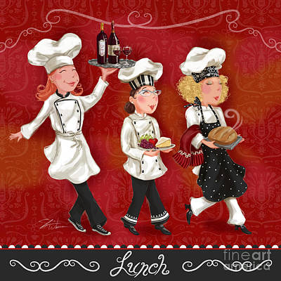 Wine Mixed Media - Lady Chefs - Lunch by Shari Warren