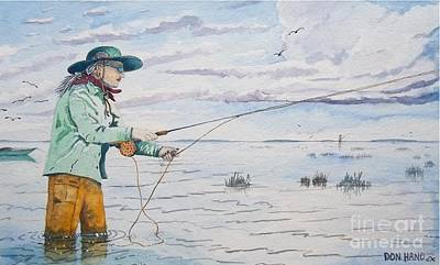 Lady Fly Fishing Print by Don Hand