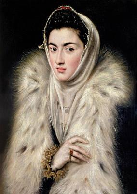 Lady In A Fur Wrap Print by Domenico El Greco