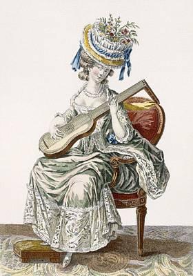 Lady In A Shot Taffeta Dress Trimmed Print by Pierre Thomas Le Clerc