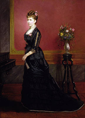 Interior Still Life Painting - Lady In Black by Edouard Ender