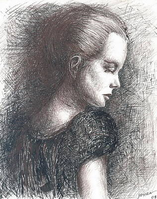Sepia Ink Drawing - Lady In Black by Jovica Kostic