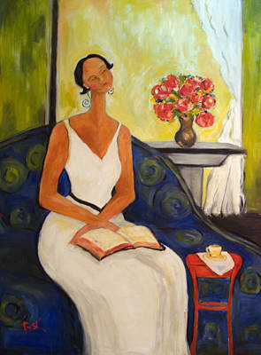 Lady In Blue Chair Print by Becky Kim