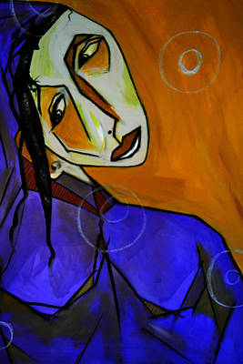 Robert Daniels Mixed Media - Lady In Blue by Robert Daniels