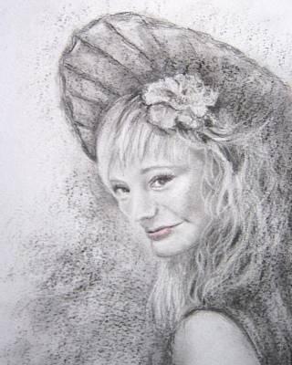 Lady In Hat Print by Vicki Wynberg