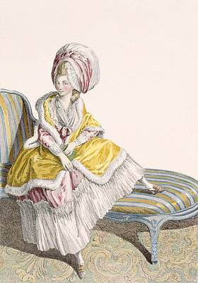 Lady In Morning Gown In Lemon And Pink Print by Claude Louis Desrais
