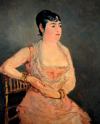 Lady In Pink Print by Edouard Manet