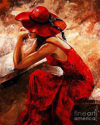 Lady In Red 21 Print by Emerico Imre Toth