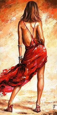 Lady In Red 40 Print by Emerico Imre Toth