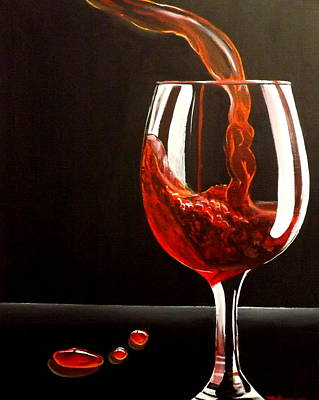 Wine Glasses Painting - Lady In Red by Darren Robinson