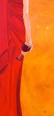 Lady In Red Print by Debi Starr