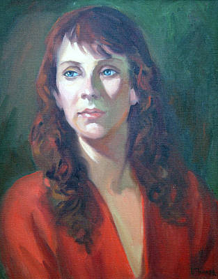 Character Studies Painting - Lady In Red by Leona Turner