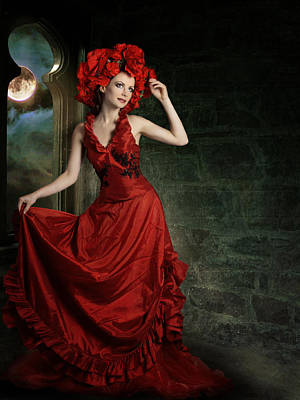 Lady In Red Print by Ester  Rogers