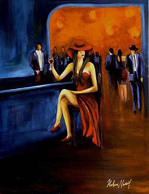 Glass Of Wine Painting - Lady In Red by Helene Khoury Nassif