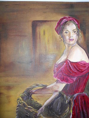 Lady In Red Print by Joyce Reid