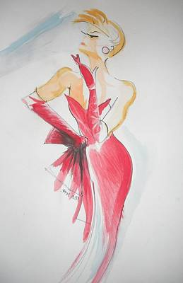 Cocktail Dress Painting - Lady In Red by Michelle Deyna-Hayward