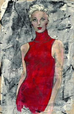 Sexy Women Drawing - Lady In Red by P J Lewis