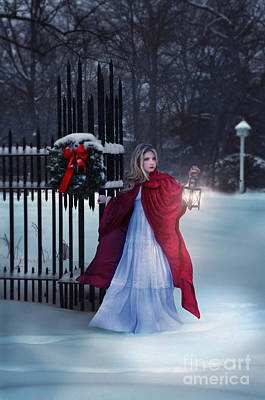 Lady In Snow With Lantern Print by Jill Battaglia