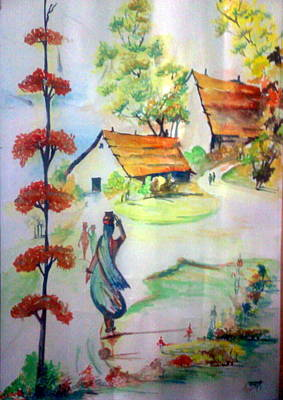 Bamboo House Drawing - Lady In Village Carrying Water - Close To Nature by Tanaya Chaudhuri