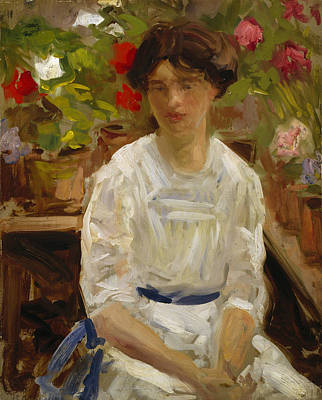 Lady In White Print by Francis Campbell Boileau Cadell