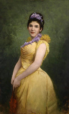Adolf Painting - Lady In Yellow Dress And Lilac In Her Hair by Adolf Echtler