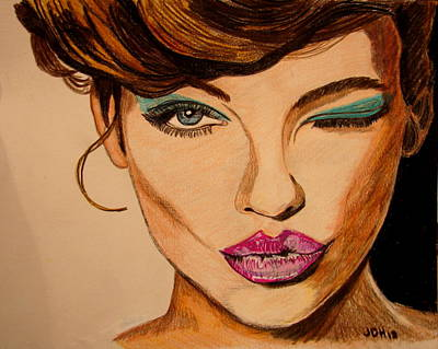 Colored Pencil Painting - Lady by Joseph Hawkins