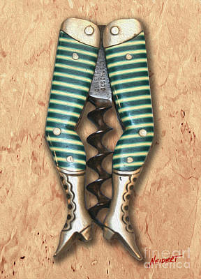 Cabernet Mixed Media - Lady Legs Corkscrew Painting by Jon Neidert