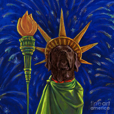 4th Of July Mixed Media - Lady Liberty - Chocolate by Kathleen Harte Gilsenan