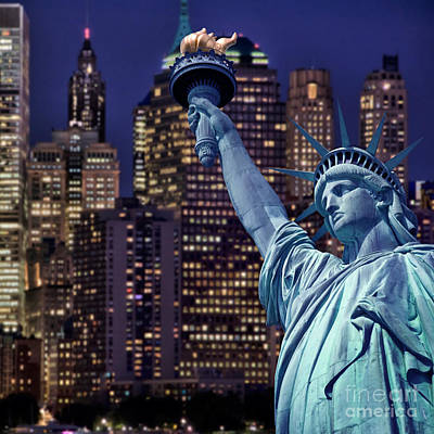 Nyc Digital Art - Lady Liberty By Night by Delphimages Photo Creations