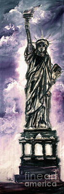 Statue Of Liberty Drawing - Lady Liberty Charcoal And Oil by Ginette Callaway