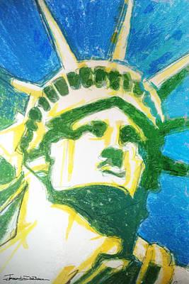 Statue Portrait Drawing - Lady Liberty by Jerrett Dornbusch