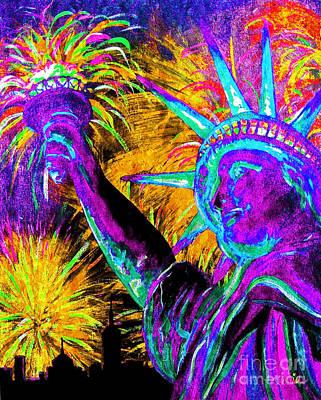 4th Of July Painting - Lady Liberty Nyc by Teshia Art