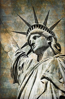 Statue Portrait Digital Art - Lady Liberty Vintage by Delphimages Photo Creations