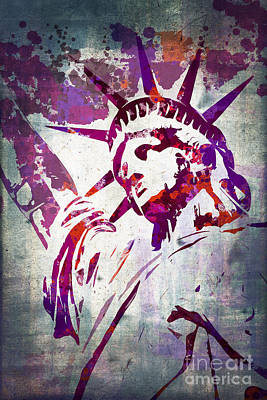 Statue Portrait Digital Art - Lady Liberty Watercolor by Delphimages Photo Creations