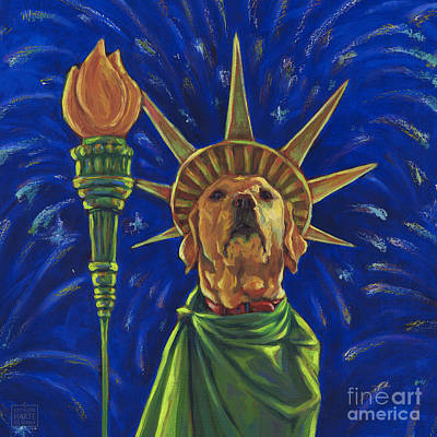 Fourth Mixed Media - Lady Liberty - Yellow by Kathleen Harte Gilsenan