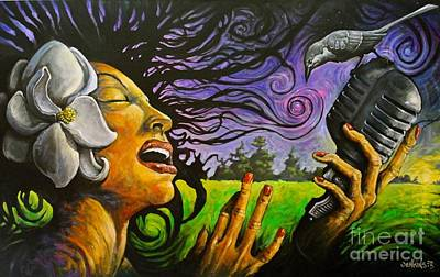 Mockingbird Painting - Lady Magnolia And The Right Wing Mockingbird Singing The Mississippi Theme Song by Jason  Jenkins