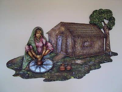 Wall Mounting Ceramic Art - Lady Making Pots by Chanda Taori