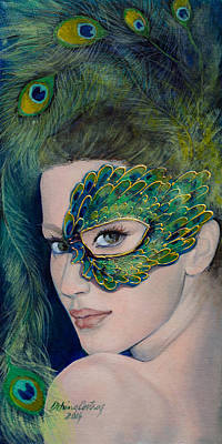 Carnivale Painting - Lady Peacock by Dorina  Costras
