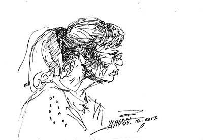 Sketch Drawing - Lady Profile by Ylli Haruni