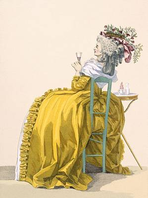 Lady Reclines On Chair Drinking Print by Francois Louis Joseph Watteau