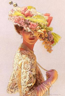Hat Painting - Lady Victoria Victorian Elegance by Sue Halstenberg