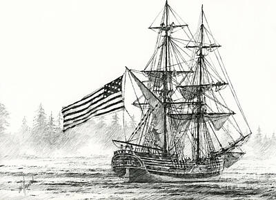 Friendly Drawing - Lady Washington At Friendly Cove by James Williamson